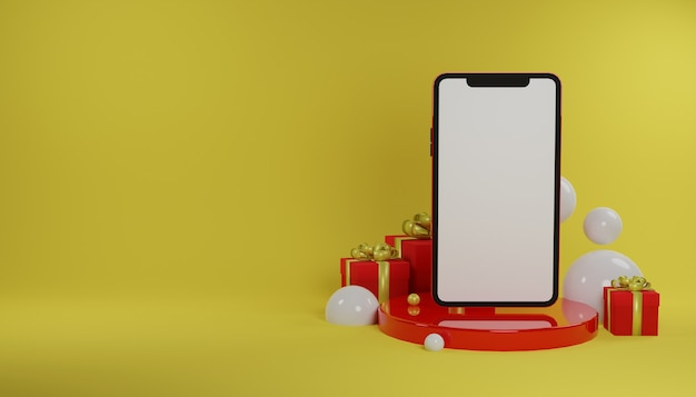 黄色の背景と空白の画面で3dレンダリング電話