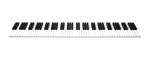 3d render, piano keys with treble clef notes . musical background