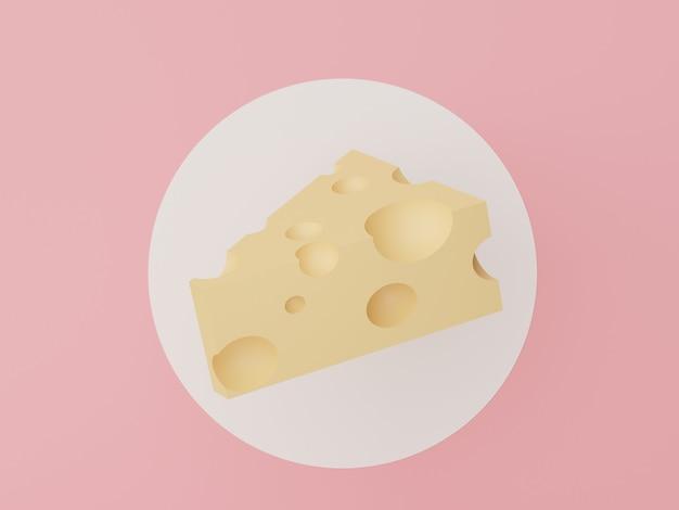 白い円とパステルピンクの背景にチーズスライスを作るためのチーズの3dレンダリング Premium写真
