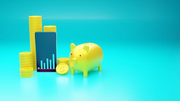 3d визуализация свинья копилка с концепцией экономии денег и управления деньгами для личного и делового финансового планирования, на синем фоне