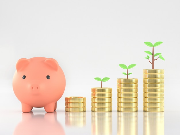 3d render of piggy bank with coins