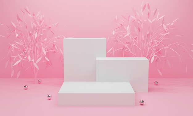 3d render of pink abstract background with display podium and tree.