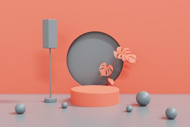 3d визуализация розовый и серый фон подиум, абстрактный геометрический подиум цилиндра. 3d визуализация.