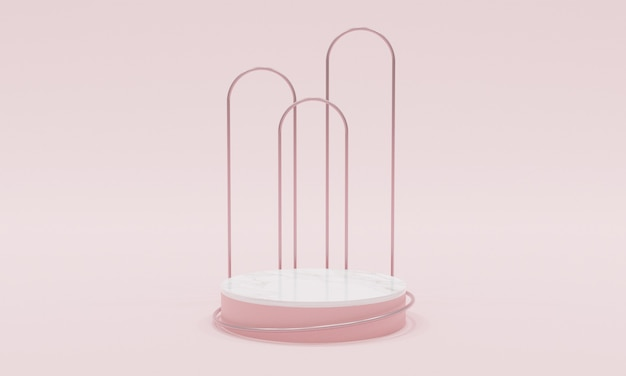 3d 렌더링 핑크 배경 현실적인 모양 연단