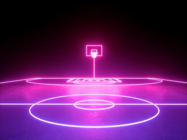 3dレンダリング、ピンクブルーの輝くネオンライト、バスケットボールのフィールドスキームのバスケット、仮想スポーツの遊び場、スポーツゲーム。