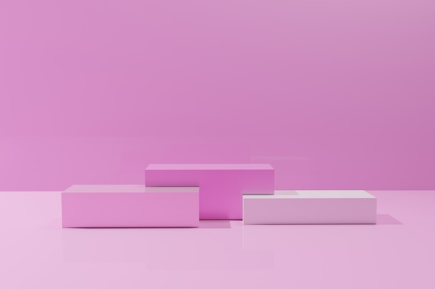 モノクロの背景にピンク色の立方体の表彰台を3dレンダリング