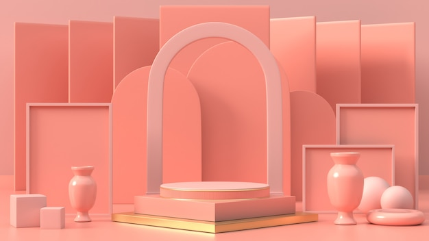 3d render of pink geometric podium  for product or commercial 3d of abstract podium