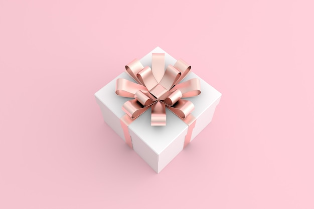 3d render of pink gift box in minimal style.