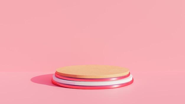 3d визуализация розового пьедестала для дисплея