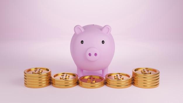 3d визуализация розовая копилка и золотые монеты на светло-розовом фоне