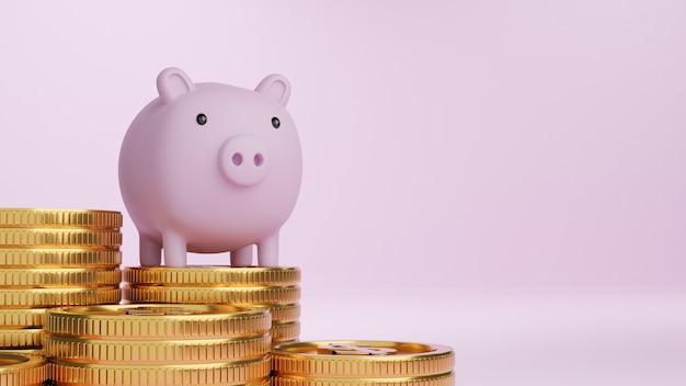 3d визуализация розовая копилка и стопки золотых монет на светло-розовом фоне