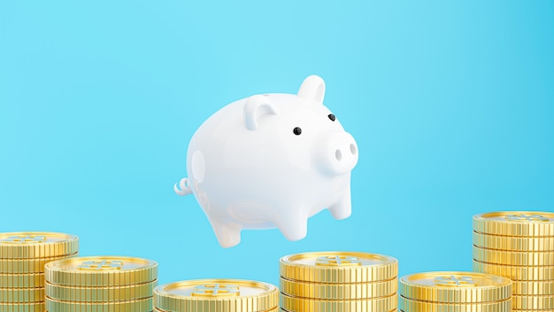 3d render of pink piggy bank with gold coins stacking for saving money concept