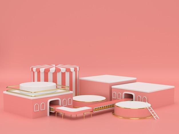 3d визуализация розовый фон подиум
