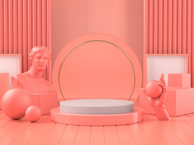 3d render of pink podium on classic roman sculpture