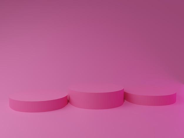 ピンクの背景にピンクの表彰台を3dレンダリング