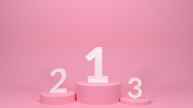 数字でピンクの表彰台を3dレンダリング