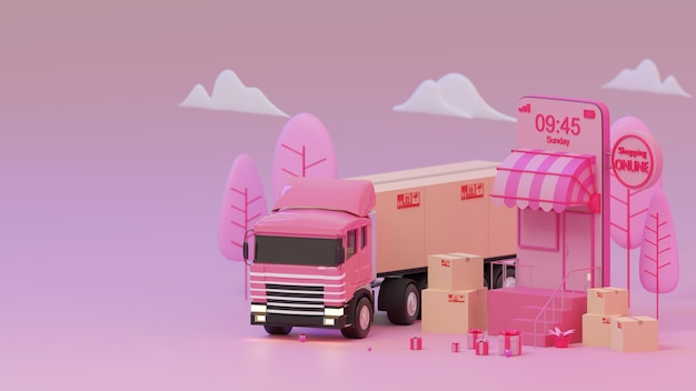 3d 렌더링 분홍색 상점 및 트럭 분홍색 배경 쇼핑 온라인 개념에