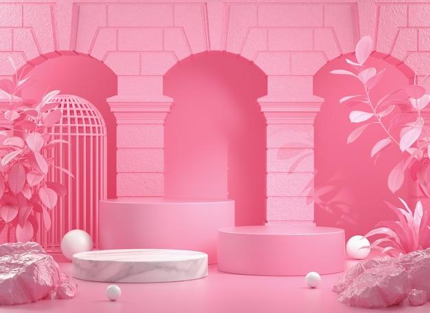 건물 및 야생 3d 렌더링 핑크 단계 연단