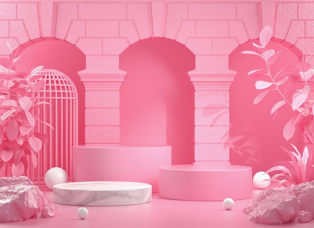 3d render  pink step podium with building and wild