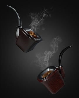 3d render pipe smoke on dark.