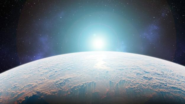 3dレンダリング。宇宙に日の出のある惑星地球-ヨーロッパ-nasaによって提供されたこの画像の要素
