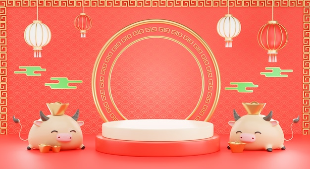 3d render of podium chinese with ox new year 2021 for product presentration