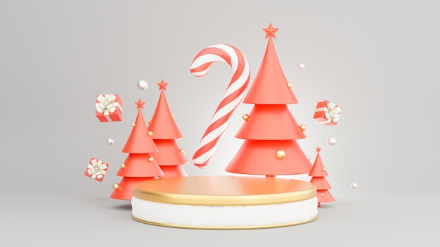 3d render of podium at christmas concept with decoration