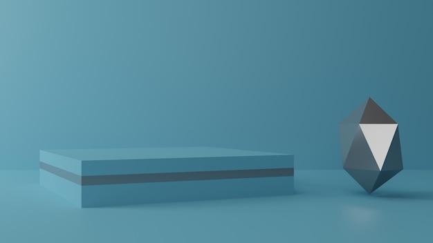 3d 렌더링 연단 디자인 파란색 배경