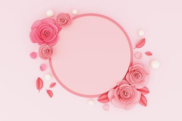 발렌타인 장미와 함께 제품 배치에 대 한 3d 렌더링 연단.