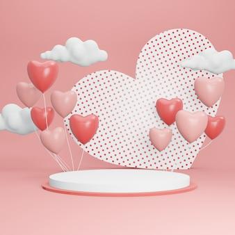 バレンタインデーの3dレンダリング表彰台。ディスプレイと製品の抽象的なシーン