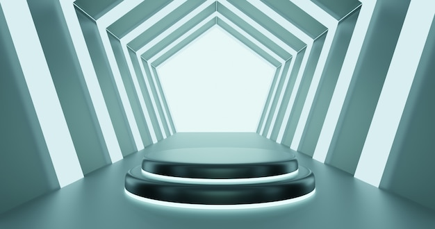 3d render podium in hexagon futuristic tunnel using for showcase product