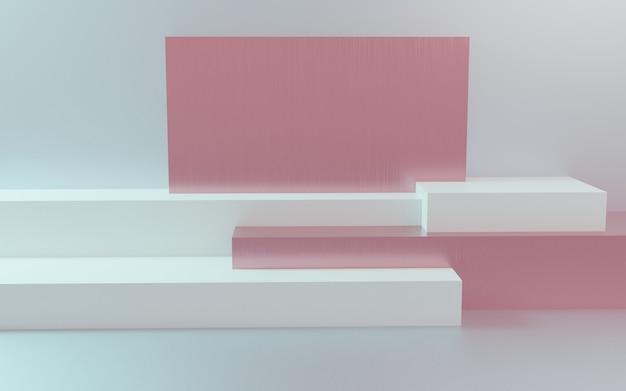 3d визуализация подиум в абстрактной пастельной композиции