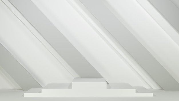 3dレンダリング。灰色の背景に表彰台。製品プレゼンテーション