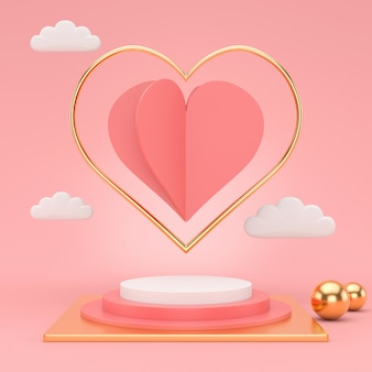 3d render podium for valentine's day. abstract scene for display product.
