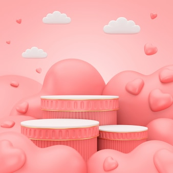 3d render podium for valentine's day.abstract scene for display product.