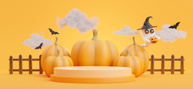 3d render of podium with halloween concept,pumpkin,bat,cloud,ghost for product display