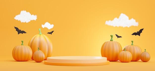 3d render of podium with halloween concept,pumpkin,bat,cloud for product display