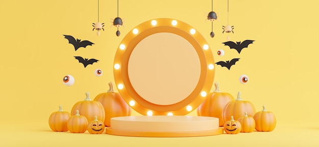 3d render of podium with halloween concept,pumpkin,eye,spider,neon light for product display