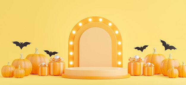 3d render of podium with halloween concept,pumpkin,gift,neon light for product display