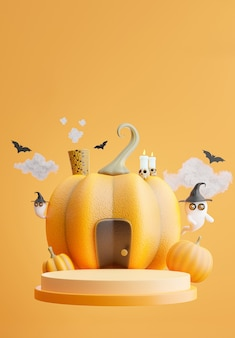 3d render of podium with halloween concept,pumpkin house,bat,cloud,ghost for product display