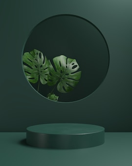 3d визуализация подиум с листом монстера и зеленым фоном, абстрактным фоном, для косметического шоу, дисплея или витрины.