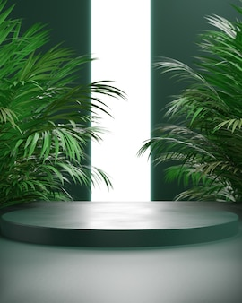 3d render podium with leaf palm and green background, abstract background, white neon light, display or showcase.