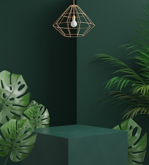 3d render podium with leaf palm, monstera and green background, abstract background, for cosmetic, display or showcase.
