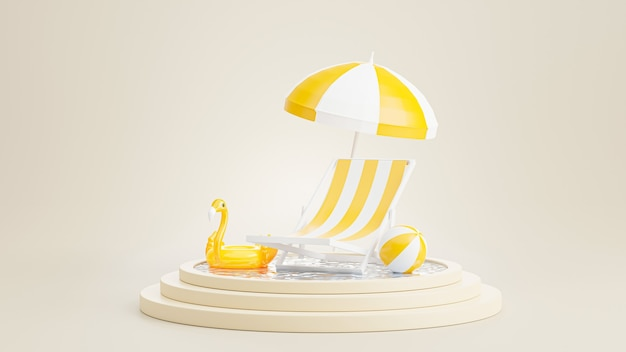 3d render of podium with summer ,chair beach,umbrella beach,inflatable blue flamingo,swimming pool concept for product display