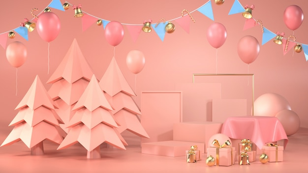 3d render of podium with trees, balloons, gift boxes and garlands