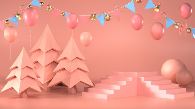 3d render of podium with trees and garlands