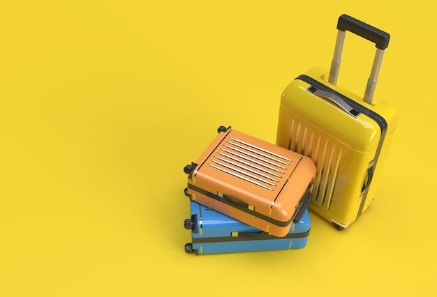 파스텔 노란색 배경에 3d 렌더링 폴리카보네이트 가방.