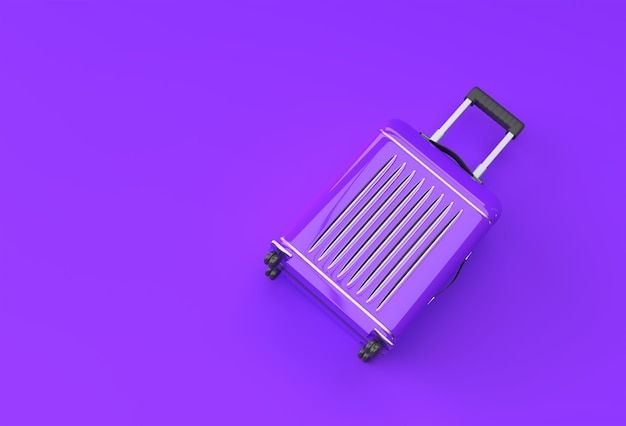 3d render polycarbonate suitcase on pastel purplle background.