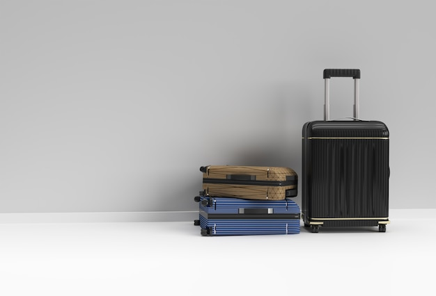 3d render polycarbonate suitcase on pastel white background.