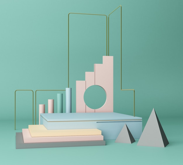 3d render primitive shapes abstract geometric background minimal